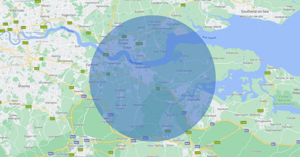 Map of Gravesend and surrounding areas